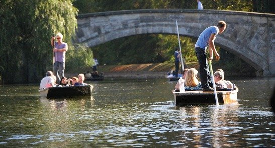 Punting in Cambridge along the River Cam