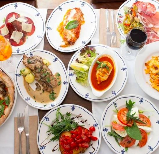 An array of delicious dishes from Italian Restaurant La Pergola