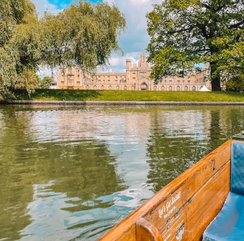 Punting in Cambridge along the College Backs